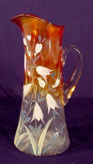 523: Marigold Carnival Glass Enamel Decorated Tankard