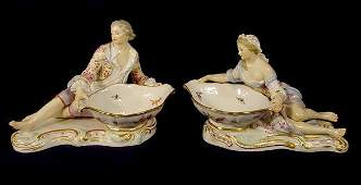 623 2 Meissen Porcelain Figurines Man  Woman NR