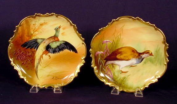 735: 2 Marked Coronet Hanging Game Bird Plates NR