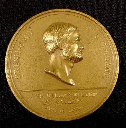 302: 1869 Barber Railroad Medal Presidency US Grant