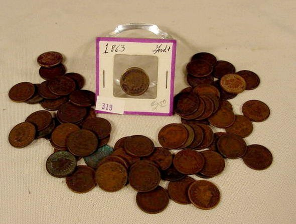 306: Bag of Approx. 61 Indian Cents NR