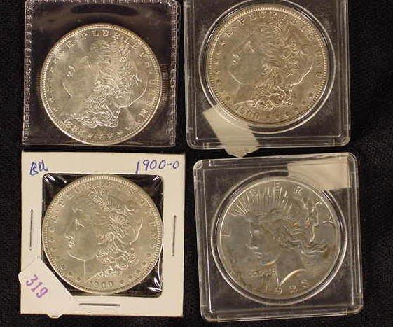 335: 4 Pc. Silver Dollars-82-S, 00-P & O, 23