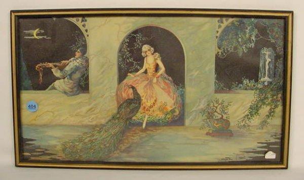404: Tsanya Print Woman Peacock Musician Framed NR