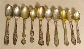 397 10 Sterling Silver Souvenir Spoons