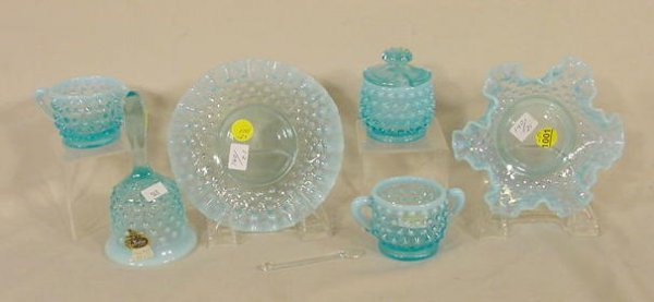 1001: 6 Fenton Blue Opalescent Hobnail Items NR