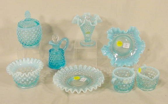 1006: 8 Fenton Glass Blue Opalescent Items NR