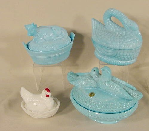 1007: 4 Milk Glass Figural Covered Dishes NR