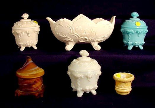 1012: 6 Colored Milk Glass Containers NR