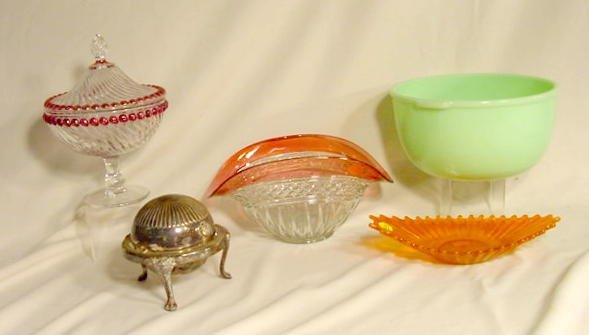 1016: 5 Pc Group Lot of Glass & S P Butter Dish NR