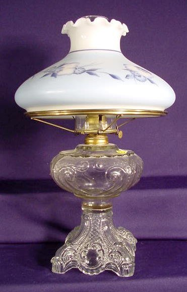 1017: Clear Princess Feather Pattern Glass Lamp NR