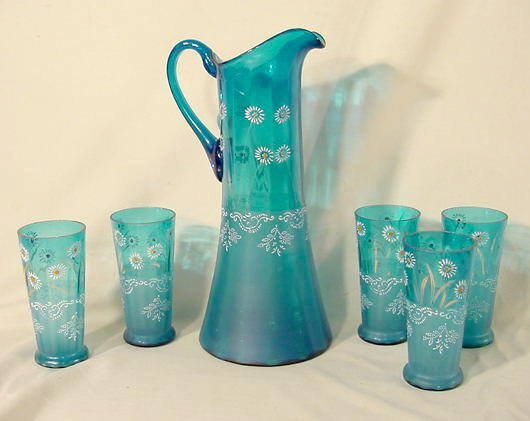 1019: 6 Piece Victorian Enamel Decorated Water Set NR