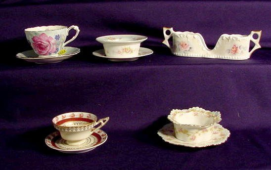 1022: Five Assorted Decorated China Dishes NR