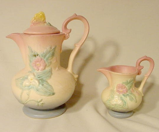 "1041: Hull Pottery ""Wild Flower"" Coffee Pot & Pitcher"