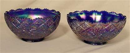 1194 2 Imperial Glass Hattie Cobalt Iridized Bowls