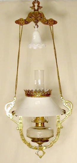 1200: Victorian Hanging Lamp W/ Pegged Font NR