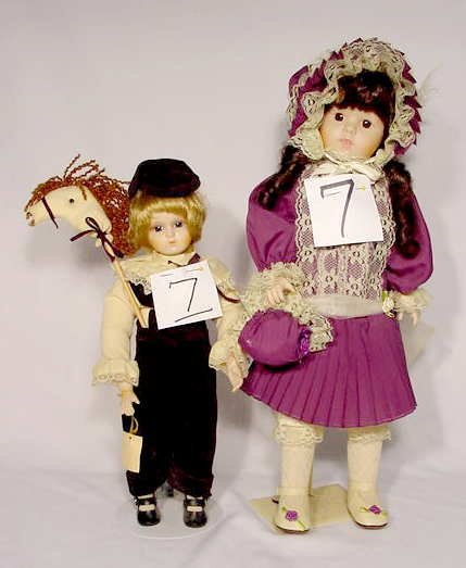 1007: Pair of Brinn's Porcelain & Cloth Dolls