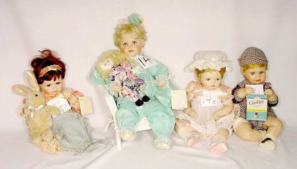 1014: Group of 4 Hamilton Collection Dolls, All Named