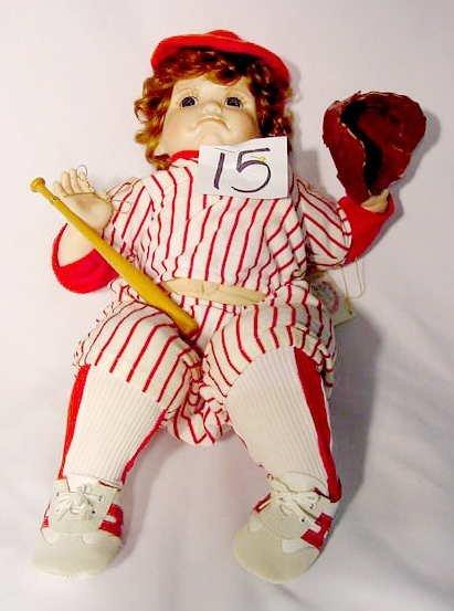 "1015: World Gallery Porcelain & Cloth Doll ""Billy"""