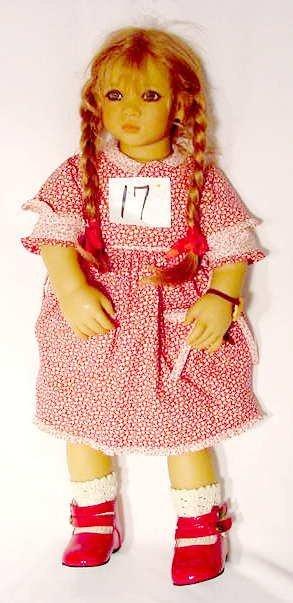 "1017: Puppen Kinder Hard Plastic & Cloth Doll ""Anna"""