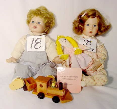"""1018: 2 Dolls """"Katie's Bedtime Story"""" & Unmarked Baby"""