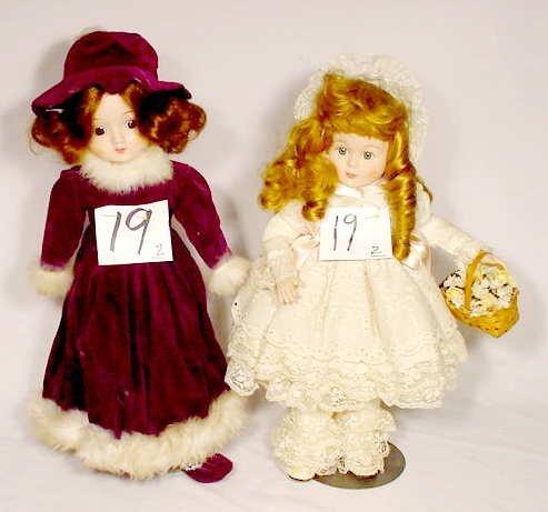 1019: Pair of Heritage Porcelain & Cloth Dolls