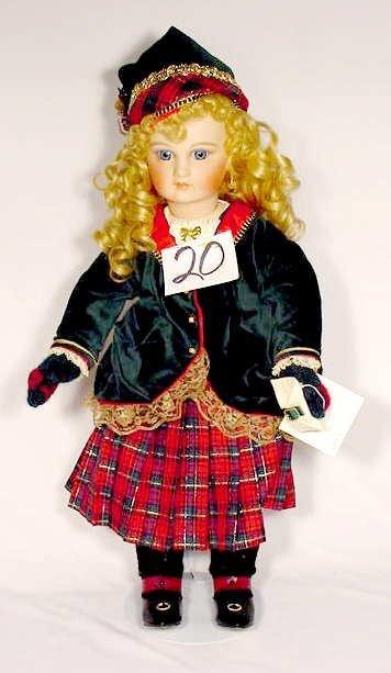 """1020: Premiere Porcelain & Cloth Doll """"Noelle"""""""