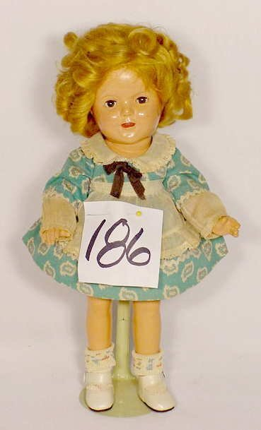 """1186: Unmarked Composition Doll """"Shirley Temple"""""""