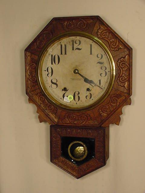 48: New Haven Pressed Oak Hanging Regulator NR