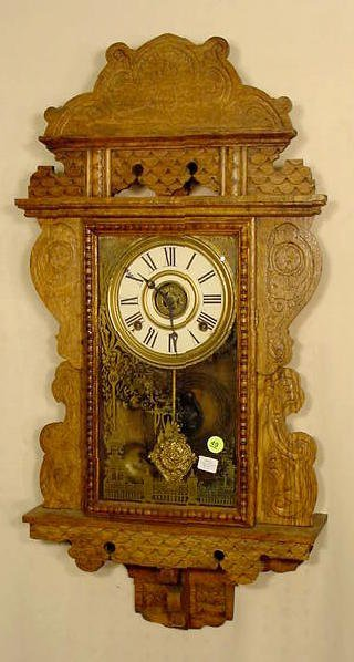 49: Sessions Oak Hanging Kitchen Clock With Alarm NR
