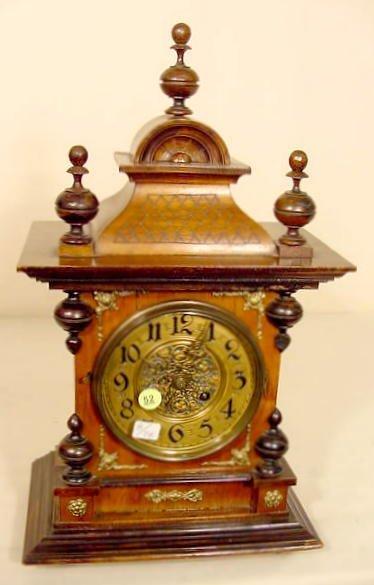 52: Walnut & Mixed Wood Bracket Style Clock NR
