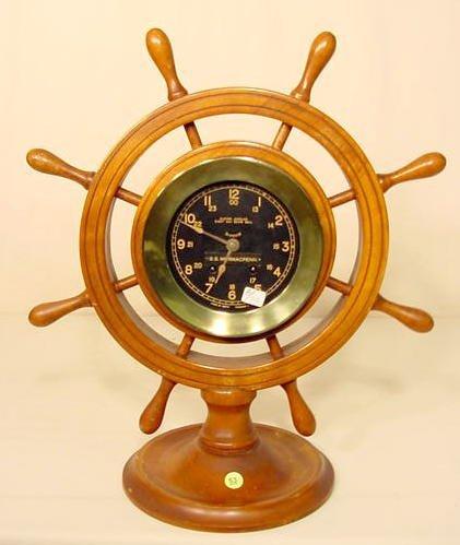 53: Seth Thomas 8 Day Brass Ships Bell Clock NR