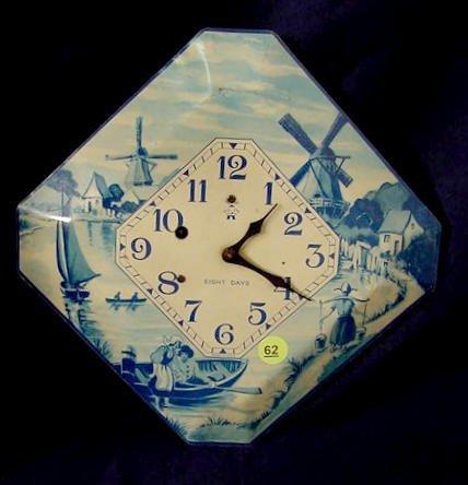 62: Dutch Scenic Metal Plate Hanging Clock NR
