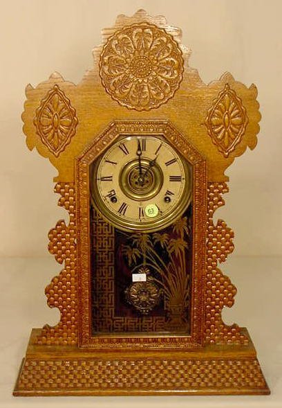 63: Ingraham Sapphire Oak Kitchen Clock NR