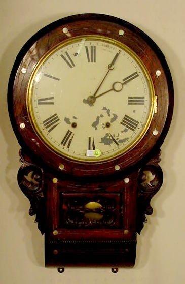 65: Seth Thomas Inlaid Rosewood Wall Clock NR