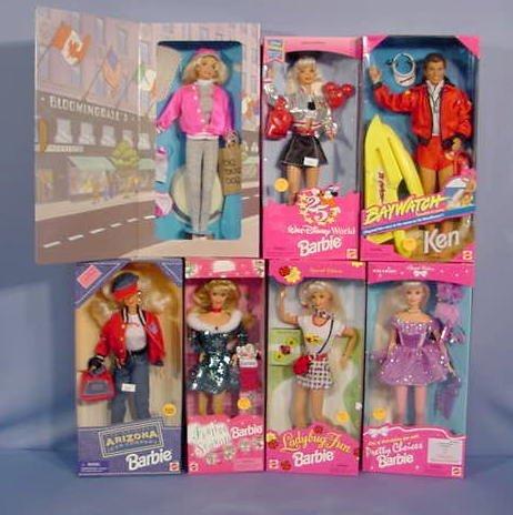 509: 7 Mattel Barbie & Ken Dolls In Original Boxes NR