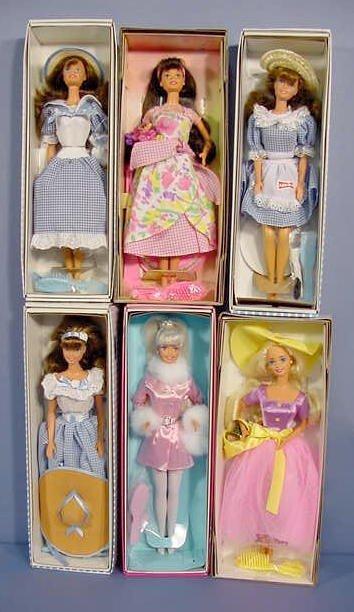 510: 6 Mattel Barbies In Original Boxes NR