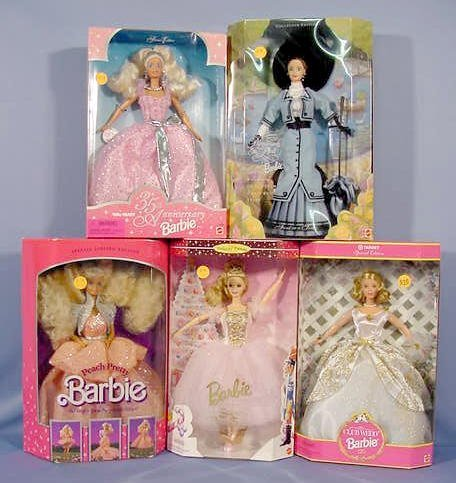 516: 5 Mattel Barbies in Original Boxes NR