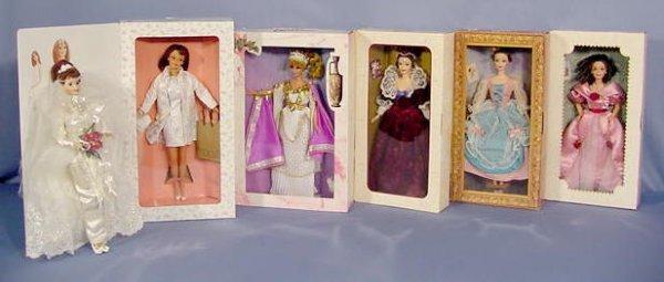 521: 6 Mattel Barbies In Original Boxes NR
