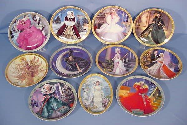 525: 11 Barbie Porcelain Collectible Plates NR