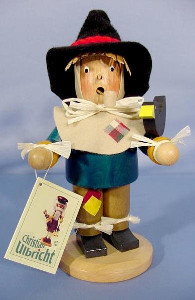 528: Hand Made Germany Wooden Smoking Scarecrow NR