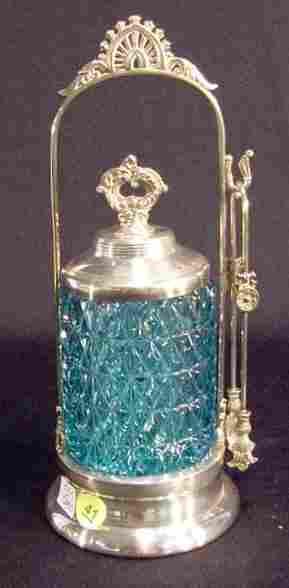 41: Victorian Blue Flattened Diamond  Pickle Castor