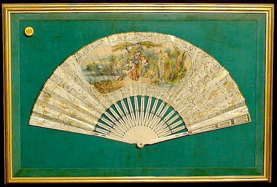 505: Carved Bone and Paper Folding Fan  NR