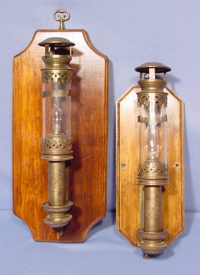 506: Pair of Brass Electrified P.L.M. Wall Lamps NR