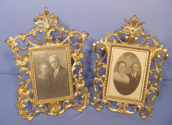 519: 2 Cast Iron Free Standing Picture Frames NR