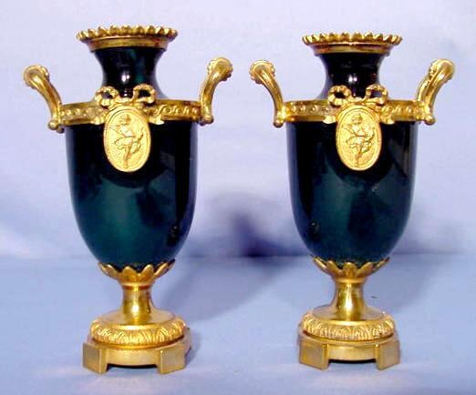 522: Pair of Green Enamel and Brass Vases NR