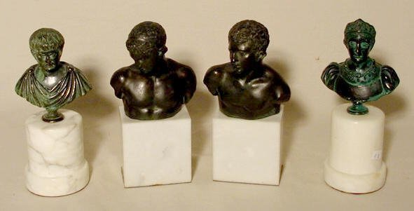 524: 2 Pair Spelter Bust Statues on Marble Bases NR
