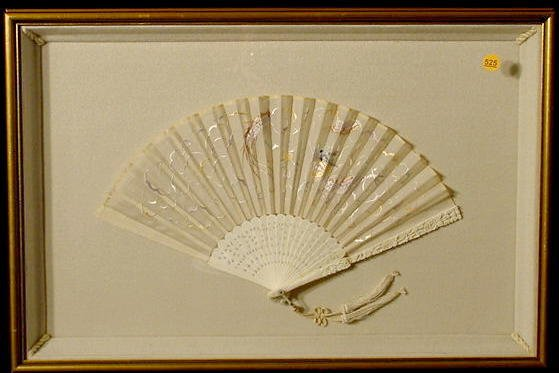 525: Carved Bone and Lace Folding Fan NR
