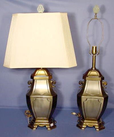 526: Pair of Metal Electric Table Lamps NR