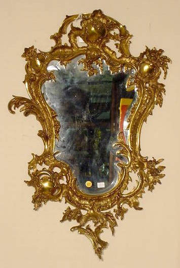 527: Ornate Brass and Beveled Glass Wall Mirror NR