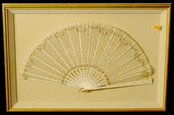 530: Carved Bone and Lace Folding Fan NR
